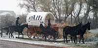 Pahl covered wagon welcomes visitors in the main yard.